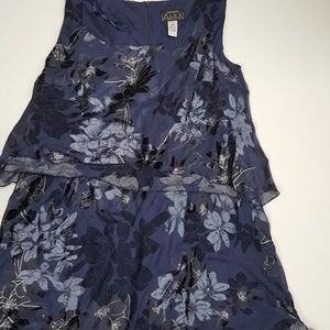 Alex Evenings Womens 22W Navy Dress with Flowers